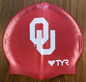 TYR Swim Cap Silicone Red White OU Oklahoma University NCAA Official New in Box