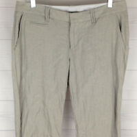 GAP Hip Slung Linen Cotton Womens Size 6 Gray Striped Flat Front Bootcut Pants