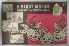 Vintage Superior PANSY MOTIFS Embroidery Crochet Hot Iron Transfer Pattern UNCUT