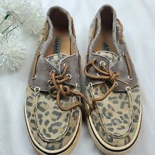 Sperry Top Sider Womens Boat Shoes Tan with Leopard Cheetah Print Size 7M