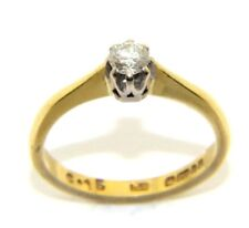 Mujer, 18 Ct Anillo de Oro, Tiene un Individual un Diamante, Gb Talla H 1/2