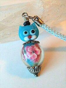 Handmade Blue Kitty Lampwork Lanyard