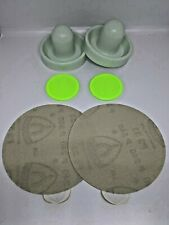 Dynamo Air Hockey Mallets and 2 Small Pucks with Sanding Discs