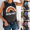 Womens Holiday Summer Casual T Shirt Rainbow Loose Blouse Vest Ladies Cami Tops