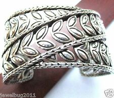 Gorgeous Wide John Hardy Cuff Bracelet Sterling Silver Original JH Pouch!