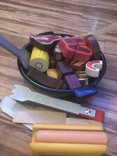 melissa and doug Play Food Wood Velcrow Lot Bbq Steak Hot Dog Stir Fry 35 Pcs