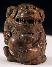 Hand Carved Antique Boxwood Netsuke Foo Dog Mythical Beast Artist Signed