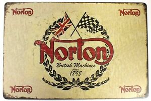 Norton British Machines Motorcycle Metal Tin Wall Door Garage Sign 30 x 20 cm