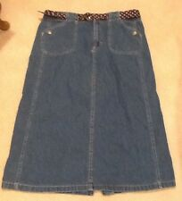 White Stag Size 16P Petite Denim Skirt Long Modest Knee Length w Belt EUC