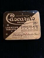 Vintage 25¢ Cascarets Chocolate Laxative Tablets Advertising Tin Sterling Prod.