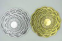 """Gold / Silver Foil Paper Lace Doilies 4.5""""5.5""""6.5""""7.5""""8.5""""9.5""""10.5""""12""""  8 sizes"""