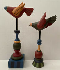 Midwest of Cannon Falls - Flying Birds on Finials Folk Art Carved Wood 2Pc Set