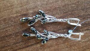Ohrringe aus Sterling Silber 925  mit Natur Bernstein grün Art Design