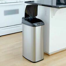 Touchless Hands Free Sensor Trash Can Kitchen Garbage Metal Black Slim 13 Gallon
