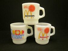 LOT 3 McDonald's MUGS Fire King Anchor Hocking Good Morning Many Happy Returns