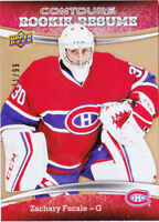 15-16 Upper Deck Contours Zachary Fucale /99 Rookie Resume GOLD Canadiens 2015