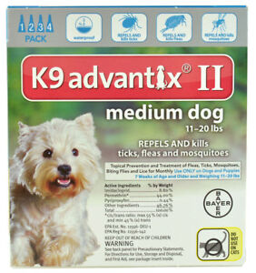Bayer K9 Advantix II 11-20 lbs MD dog four pack EPA product No expiration