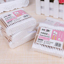 100pc Double Head Cosmetic Cotton Buds Swab Wood Stick Q-tips Ears Nose Cleaning