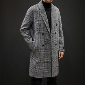 Casual Double Breasted Men Wool Overcoat Jacket Turn-down Collar Woollen Coat
