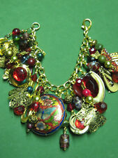 """""""RUBY RED BUTTERFLY""""- ONE OF A KIND-UP CYCLE STATEMENT CHARM BRACELET-GOLD TONE"""
