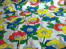 Mod Retro Drapery Fabric Large Flowers Red Blue Green Red Primary Huge Bold #489