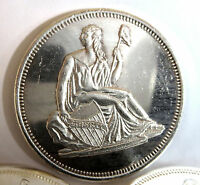 SEATED LIBERTY GOBRECHT REFLECTIVE WITH SMOOTH EDGE  .999 FINE SILVER 1 TROY OZ