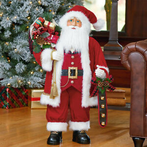 36 Inch (91.5cm) Traditional Standing Fabric Santa Christmas Decoration Red