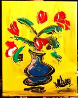RED FLORAL by Mark Kazav  Abstract Modern CANVAS Original Oil PNGS