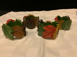 4 Fall / Thanksgiving Napkin Rings with Leaves Autumn Colors