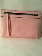 Ladies Women's Small Pink Faux Leather Clutch Wristlet Bag Purse
