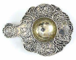 Johann S. Kurz & Co. German .800 Silver Tea Strainer, c1890. Repousse Figural