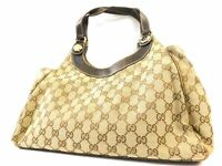 Gucci GG Monogram Tote Shoulder Hand Bag Purse Brown Auth