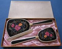 VINTAGE c1950s/60s VANITY SET BLACK PINK ROSES GOLD MIRROR BRUSH COMB BOXED