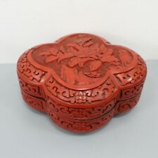 Chinese Cinnabar Red Carved Trinket Jewelry Box