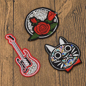 Cat Rose Embroidered Applique Patches Iron-On Sewing Clothes DIY Decor Craft