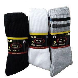 Lot de 10 à 70 paires de chaussettes tennis Noir, Blanc ou Gris pour homme/femme