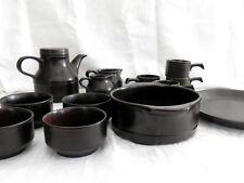 Retro Dark Matt Brown Kiln Craft Tea Set and Odds 14 Pieces Staffordshire 1970s