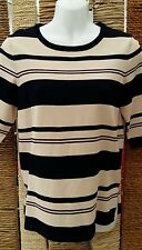 WAREHOUSE BNWT Short Sleeve Graduated Navy & Cream Stripe Jumper Size 8 RRP £42