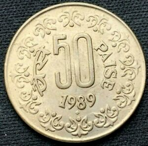 1989 b India  50 Paise Coin UNC  Copper nickel    #B282
