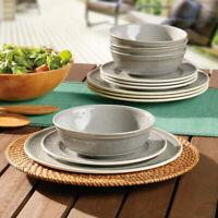 Melamine 12 Piece Dinnerware Set  Heavyweight Melamine BPA Free Dishwasher Safe