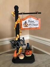 New ListingHappy Halloween Signpost Accessory For Byers Choice ~ Terrific w/carolers