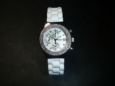 WATCH MURAT PARIS MONTRE QUARTZ steel date nos 35mm white chronograph gems femme