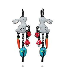 Boucles d'oreilles lapins gris ♥ histoire de lapin ♥ arbre bleu ♥ lol bijoux ♥