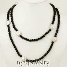 """Gorgeous! Black Crystal Long Evening Necklace with White Coin Pearl Beads 48"""""""