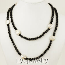 """Gorgeous Black Crystal Long Evening Necklace with White Coin Pearl Beads 48"""""""