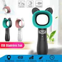 360 Degrees Portable Bladeless Hand Held Cooler USB Cable No Leaf Handy Mini Fan