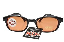 KD's Sunglasses Original Biker Shades Motorcycle Black Orange Lens 2128