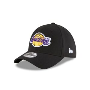 Los Angeles Lakers New Era Black Team Classic 39Thirty Flex Fit Hat