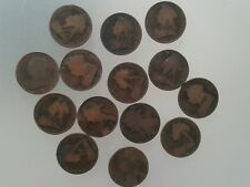 14 Victorian penny coins