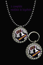 necklace & key chain set fraternity gift omega psi phi q que Dawgs dogs